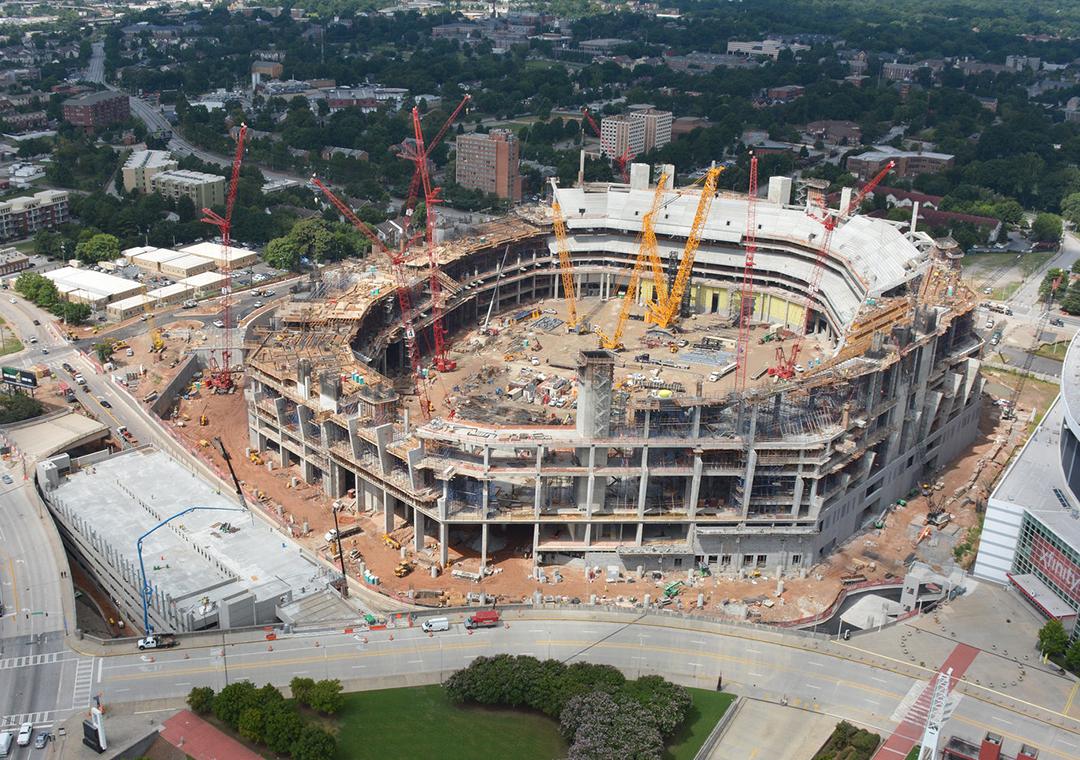 Penetron waterproofs new mercedes benz stadium for Falcons mercedes benz stadium