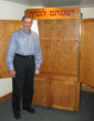 "Friedland with the Aron Kodesh he created for Temple Israel in White Plains.  It was built for the youth program and the Hebrew writing reads, ""and you shall teach it unto your children."""