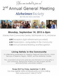 2nd Annual General Meeting of the Alzheimer Society of Waterloo & Wellington Regions