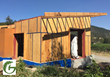 Cowhorn Vineyard & Gardens building in process, Declare-labeled Tescon Vana tape is used to make plywood airtight.