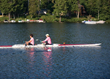 two person rowing scull using Hyndsight's Cruz