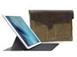Outback Solo for iPad Pro, Smart Keyboard and Pencil—shown in tan waxed canvas and brown leather