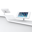 Shell+ iPad Pro kiosk enclosure on reception desk