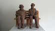 Connecticut Senior Juried Art Show: 2nd Place in Sculpture Category – Marjorie K. Miner, age 99, Hamden, CT – Two Men Watching a Baseball Game (Clay)