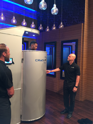 Michael Strahan does whole body cryotherapy with CryoUSA on LIVE with Kelly & Michael