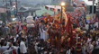 His Holiness Paramahamsa Nithyananda in the Grand Kumbh Mela procession to the Shahi Snaan (sacred dip in Nectar of river Godavari) on September 11th in Nasik, India .