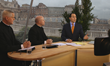 EWTN Anchor Raymond Arroyo on air during the 2013 Interregnum. With him are Fr. Gerald Murray, (far left) and Fr. Roger Landry, now working for the Holy See's Permanent Mission to the United Nations.