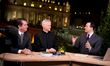 "EWTN Anchor Raymond Arroyo on air during the 2013 Interregnum with ""Faith and Reason Institute"" President Robert Royal & Fr. Gerald Murray, pastor of Holy Family Catholic Church in N.Y."