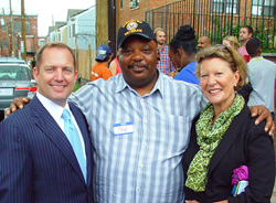Left to right: PenFed Credit Union President and CEO James Schenck, New Homeowner Maurice Harrison and PenFed Executive Vice President and Chief Operating Officer Kevyn Myers.