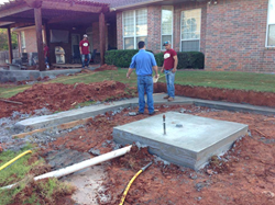 Red Valley Landscape working on an Oklahoma outdoor living space. The company specializes in residential and commercial landscape.