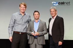 Gavin Zimmerman, Director of Business Development at Cal Net Technology Group (center) accepting the Marketing Partner of the Year Award from Dell Security Team