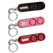 Out of packaging: SABRE personal alarm in black, red and pink.