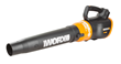 WORX AIR 20V TURBINE Blower pulls air directly into the fan and immediately forces it out through the blower tube at up to 90 mph.