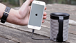 Through a built-in cable, Muggino can charge your smartphone.