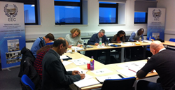 Delegates taking the exam for the Galileo Master Certificate