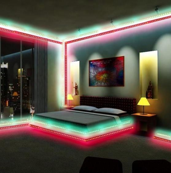 Living Room With LED Strip Lights