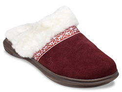 Reflecting a style trend, the Nordic slides for women have a northern European look, with smooth suede, a wool-like lining and a traditional Nordic ribbon detail.
