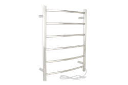 Studio towel warmer with brushed stainless steel finish.
