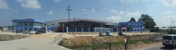 Pre-engineered steel building developed by Allied Steel Buildings for Beepats' headquarters in Guyana.