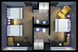 GLō guest suite floorplan with center-loaded batherooms.