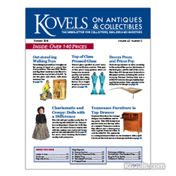 kovels, antiques, collectibles, decoys, pressed glass, walking toys, carnival glass,tennessee furniture