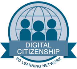This image shows PD Learning Network's badge that teachers can earn for completing a course in Digital CItizenship, which demonstrates their competence with the topic and their preparation to teach it to students in K-12 learning environments