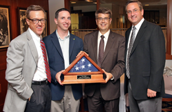 NobleBiz President Phil Grudzinski along with jobs4america board members Jeff Sheehan and Josh Bergen present Congressman Lee Terry with the Spirit of America Award