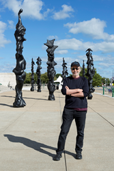 "Herb Alpert with his ""spirit totems"" at The Field Museum, Chicago. Photo by James Prinz, Chicago"