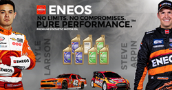 ENEOS Media campaign graphic featuring racing partners Kyle Larson and Steve Arpin.