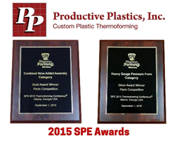 Productive Plastics, Inc. wins 2 SPE Thermoforming Awards