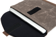 Surface Pro 4 or Surface Book SleeveCase—detail, tan waxed canvas with grizzly leather