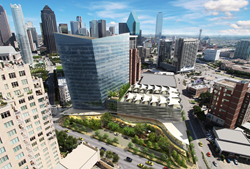 Legendary architect Cesar Pelli and his team designed the sleek and contemporary, one-of-a-kind, Class-A office tower - Crescent's McKinney & Olive.