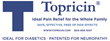 Topricin is patented for the topical treatment of pain associated with neuropathy (diabetic and chemo-induced) and fibromyalgia