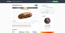 Viral website PotatoParcel.com sells for $42,000 to anonymous buyer on Flippa