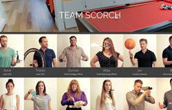 The team page from advertising agency Scorch London