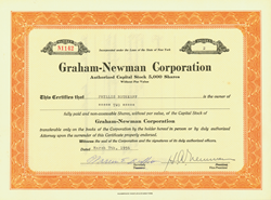 Warren Buffett signed this certificate at the beginning of his great career.