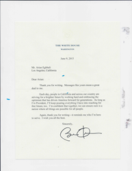 Letter from President Obama to Arian Eghbali