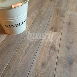150mm Smoked White Washed Brushed and Oiled European Solid Oak Wood Flooring, 20mm Thick 5