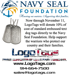 LogoTags will donate 10% of the cost of embossed text dog tags to the Navy Seal Foundation