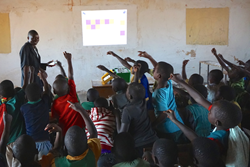 The first projector in use at Phereni School, Lilongwe, Malawi