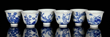 Set of 6 Qing Dynasty Blue and White Teacups