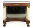 New York pier table, circa 1830-1840, mahogany and rosewood,mirrored back