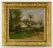 Max Weyl (American, 1837-1914), landscape, oil on canvas, country scene with woman planting