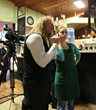 Director Jefferson Moore with actress Megan Massie on set of 'Reading Kate'