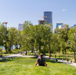 The Rise, part of the new St. Patrick's Island park, allows green space for contemplation and views of downtown Calgary and the Bow River. (Photo courtesy Civitas Inc.)