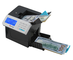 The Cassida Cube automatically identifies, counts and sorts money denominations even if a stack of bills contains mixed denominations or if the bills are not faced.