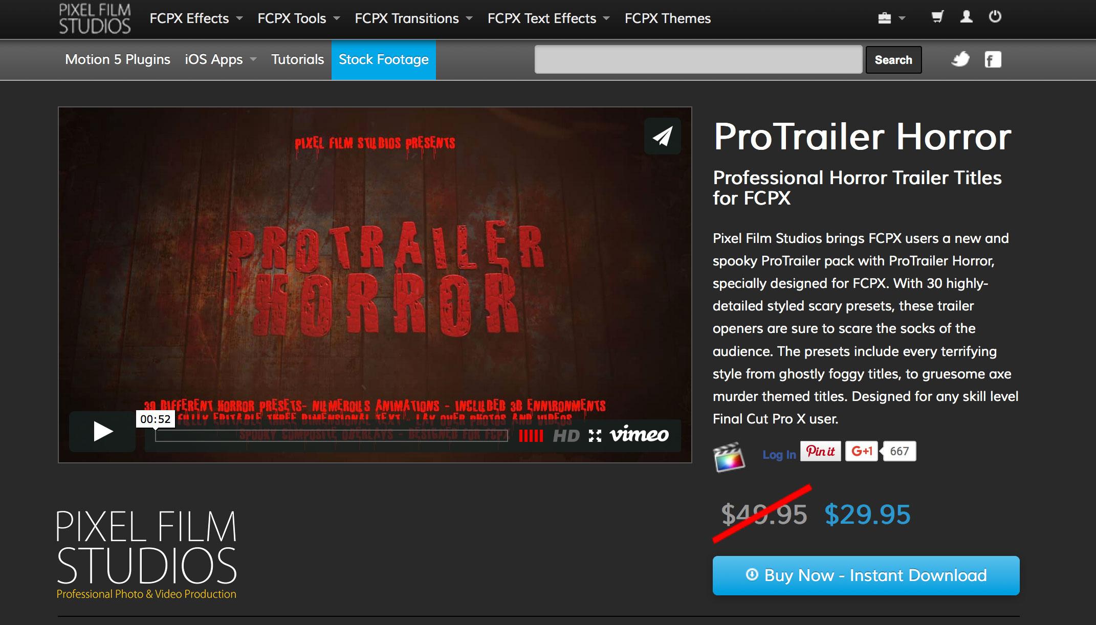 Final Cut Pro X Effect ProTrailer Horror is released by Pixel Film