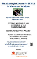 Brain Aneurysm Awareness 5K Walk in Memory of Beth Behr