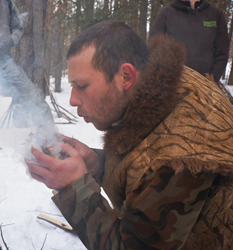 Justin Sutera demonstrates primitive fire