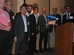 "DesignBuilder team receiving ""Best innovative workflow"" award at the 2015 ASHRAE Energy Modelling Conference"